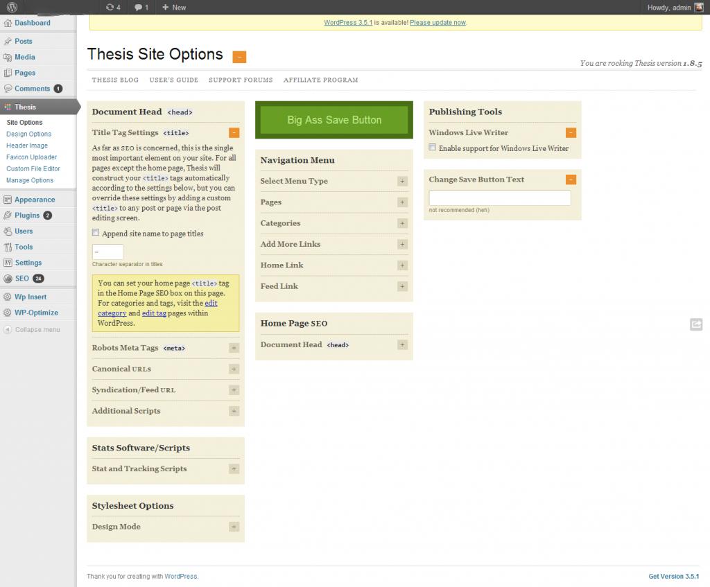 Настройките на сайта в Thesis